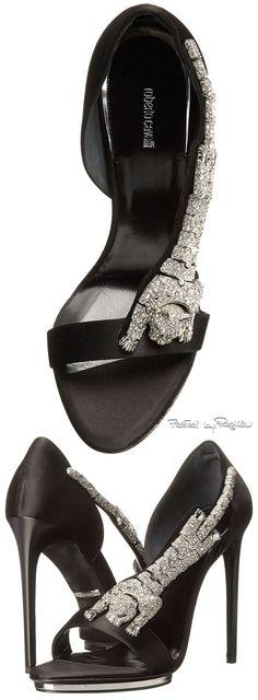 Roberto Cavalli ~ Jeweled Leather Sandal Pump, Black 2015 via Regilla