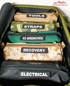 Jeep Wrangler Discover Overland Tool Bag Organizer Kit - Complete Set Overland Tool Bag Organizer - Vehicle Tool Bag Organizer by Overland Gear Guy Overland Gear, Overland Truck, Overland Tacoma, Overland Trailer, Jeep Jk, Jeep Wrangler Camping, Jeep Gear, Chevrolet Blazer, Chevrolet Silverado