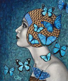 Les papillons bleus (blue butterflies) - by Celine Excoffon