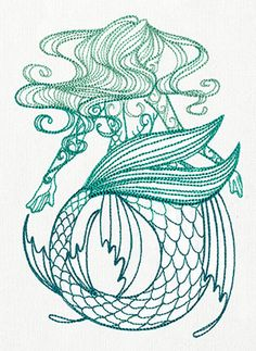 Floating tresses and curving scales make up a lovely, light-stitching mermaid design.