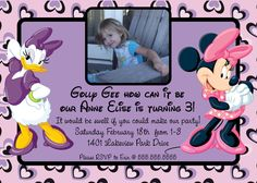 Minnie Mouse and Daisy Duck Digital Picture Invitation / Printable file. $9.00, via Etsy.