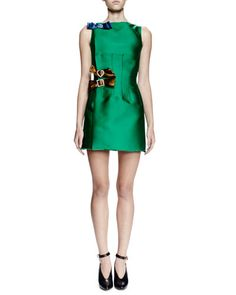 W0ADM Lanvin Sleeveless Mini Dress W/Contrasting Bows, Green
