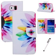 For Samsung Galaxy S6 Edge Luxury Colorful Sunflower Style PU Leather Stand Case Wallet Cover * See this awesome image  (This is an amazon affiliate link. I may earn commission from it)