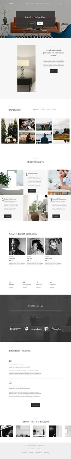 Minimalist design with various interesting layouts for section, separated with lots of whitespace