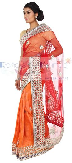 Half half style kachi patti handwork Saree