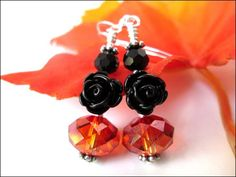 Black Acrylic Rose Magma Red Swarovski Crystal Sterling Silver Earring; Stunning deep black acrylic roses dramatic yet delicate are one of the focal points of these one of a kind handmade earrings.  T