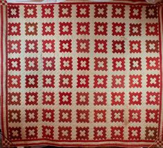 Snyder family friendship quilt via Historic Huguenot Street. Pieced red and white friendship quilt, Chimney Sweep pattern.