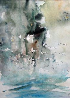Fuglefjeld Det er en meget flot stemning denne akvarel har, som om jeg stod på stedet mvh John Overgaard