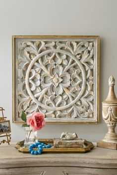 Rue De Bac Grille - French Grillwork Wall Hanging, Floral Gilt Frame Wall Hanging | Soft Surroundings