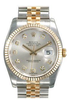 Rolex Datejust Silver Diamond Dial Jubilee Bracelet Fluted Bezel Two Tone Mens Watch 116233SDJ