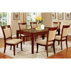 Furniture of America Darlene 7-Piece Dark Oak 66-inch Dining Set