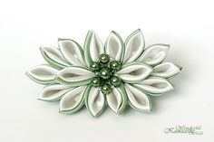 Kanzashi Fabric Flower Hair Barrette Green and Ivory