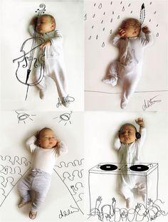 """A fotógrafa e mãe Adele-Enersen tira foto dos filhos enquanto eles dormem e depois põe em ação o seu projeto """" Quando meu bebê sonha"""" !  Ela imagina e viaja junto com seus filhos para colocar em prática suas ideias!  Incrível!"""