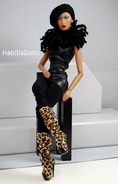 black leather Brown skin, Go git it! Beautiful Barbie Dolls, Vintage Barbie Dolls, Pretty Dolls, Fashion Royalty Dolls, Fashion Dolls, Diva Dolls, African American Dolls, Paisley, Black Barbie