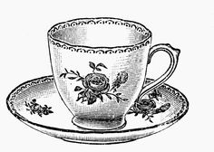 Sisters' Warehouse: Tea Time - Free Vintage Illustrations in Black and White - Teacups and Teapots - L'Ora del Te - Illustrazioni Vintage in Bianco e Nero - Tazzine e Teiere