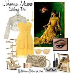 Katniss's frienemy sure does wash up nicely! Johanna pairs rich gold tones with soft ruffles and a bronzed face. Johanna Mason, Disney Bound Outfits, Disney Inspired Outfits, Pretty Outfits, Cool Outfits, Fashion Outfits, Games Outfits, Hunger Games Catching Fire, Fandom Fashion