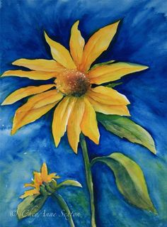 Sunflower on Blue Fine Art Original watercolor by CheyAnneSexton, $180.00