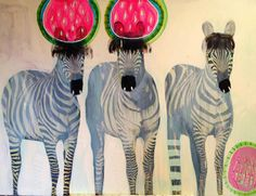 Jessie Breakwell is a talented artist from Melbourne, Australia who paints whimsical paintings in bri. Illustrations, Illustration Sketches, Funky Art, Zebras, Wall Art Decor, Nursery Decor, Cool Art, Street Art, Art Prints