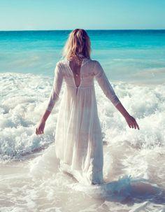 beach, ocean, white lace dress