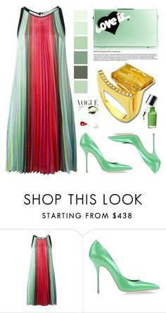 """Anastazio-green"" by anastazio-kotsopoulos ❤ liked on Polyvore featuring Mary Katrantzou, Eshvi, Casadei, Anastazio and Clinique"