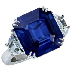Preowned 8.24 Carat Natural Deep Blue Step Cut Sapphire Diamond... (€43.795) ❤ liked on Polyvore featuring jewelry, rings, blue, jew, joias, blue ring, platinum sapphire ring, sapphire jewelry, pre owned diamond rings and graduation rings