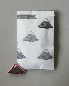 'Mountain', hand carved stamp.