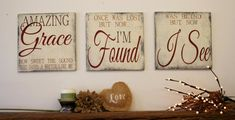 Amazing Grace Sign Wood Wallhanging Rustic Chic Decor Farmhouse Chic Decor Distressed Wood Sign Wedding Gift Religious Sign Christian Sign