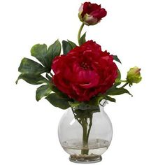Nearly Natural Peony with Fluted Vase Silk Flower in Red