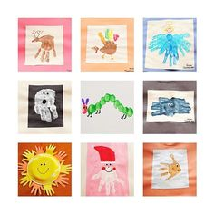 handprint / footprint / thumbprint. Second collage:  these would make great pictures for a calendar gift idea for parents!    1. rudolph the red-nosed reindeer  2. thanksgiving turkey  3. angel  4. ghost  5. very hungry caterpillar for Cam's first birthday  6. spider  7. sun  8. santa  9. goldfish