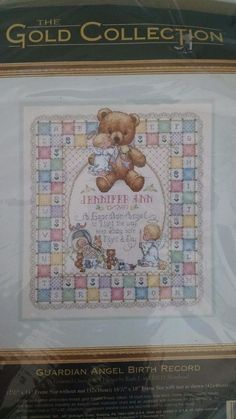 Guardian Angel Birth Record Dimensions Gold Counted Cross Stitch 3819 Opened #Dimensions #Frame