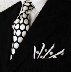 Polka dots Somehow, printed tie and pocket square on the black pinstripe is both subtle and striking Custom Pocket Squares at www.PocketSquareZ...