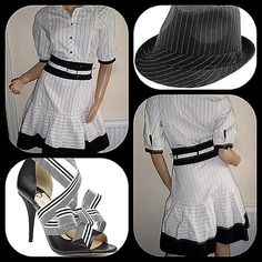 """Karen Millen black and white pinstripe dress Unique Karen Millen black and white pinstripe cotton dress.  The dress is short sleeved, collared and belted with a silver buckle stamped with the Karen Millen brand.  The front of the dress has five silver snap closures with the Karen Millen stamp.  Bottom if the dress has a black ruffle trim which contrasts with the large black fabric waist band. Left side zipper and fully lined.  Measurements lying flat armpit to armpit 18"""", waist 14 1/2""""…"""