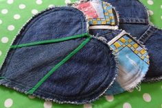 Heart-Shaped Potholders Made From Recycled Jeans