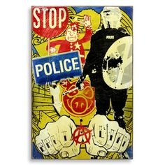 "Denial Stop Police Brutality Spray Paint on Wood 24"" x 36"" $750"
