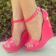 faux patent wedges. These r totally cute but I think I would have a hard time wearing those