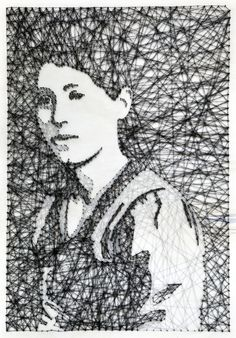 Pamela Campagna of L-able (previously) just sent me some fantastic new portraits using her painstaking method of drawing with carefully placed nails and wrapped thread. I love this series just as much as the last. (thanks, pamela!)