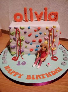 Rock wall climbing birthday cake