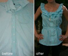 Alexis is my sewing hero. I am so trying this on one of the shirts in my giveaway pile. pleated shirt tutorial > here ruffle shirt tutorial > here Umgestaltete Shirts, Work Shirts, Dress Shirts, Sewing Hacks, Sewing Tutorials, Sewing Crafts, Sewing Projects, Diy Clothing, Sewing Clothes
