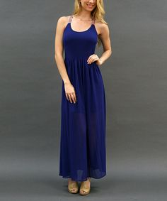 Look what I found on #zulily! Double Zero Royal Blue Sheer Blouson Dress by Double Zero #zulilyfinds