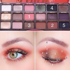 No hay ninguna descripción de la foto disponible. Makeup Tips Eyeshadow, Peach Eyeshadow, Eye Makeup Steps, Skin Makeup, Beauty Makeup, Eyeshadow Palette, Peach Palette Looks, Make Up Palette, Maquillage Too Faced