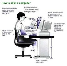 digital health, correct way of sitting at a computer