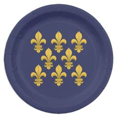 Fleur-de-lis Paper Plate - diy cyo customize create your own personalize