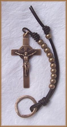 still stone and moss, prayer bead art: Ancient of Days variation iv Bronze, Brass and Greek Leather Handmade Irish Penal Chaplet