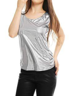 e722215344 Women s Tank Top U-Neck Stretchy Slim Fit Metallic Camisole
