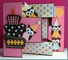 "this Tri-Shutter birthday card. Loads of detail, and the Owls made from the Stampin' Up! ""Build A Owl"" punch are so adorable! Tri Fold Cards, Fancy Fold Cards, Folded Cards, Owl Punch Cards, Owl Card, Step Cards, Kids Cards, Baby Cards, Creative Cards"