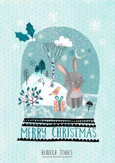 Bunny snow globe - Illustration by Rebecca Jones