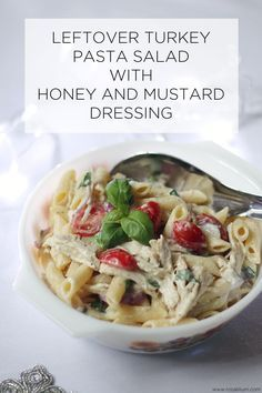 Leftover Turkey Pasta Salad With Honey and Mustard Dressing - one of my favourite things about Christmas is all the leftovers. This is a deliciously simple and flavoursome pasta salad using turkey. With a honey and mustard dressing, fresh basil, cherry tomatoes and lashings of salt and pepper. All finished off with lots of mayonnaise. I eat this by the bowlful. Also great for buffets, Boxing Day lunch, parties and general comfort food.