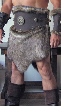 Medieval Barbarian Viking Goth Leather Belt Armor Deluxe with Fur Skirt