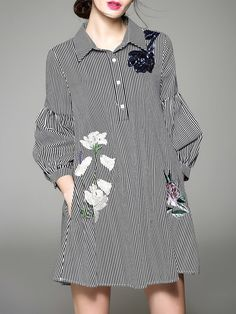 Cotton-blend H-line Shirt Collar 3/4 Sleeve Casual Shirt Dress