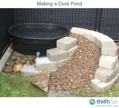 This is a guide about making a duck pond. Raising backyard fowl is becoming quite popular. If you choose to have ducks they will need a some type of pond. (they don't NEED a pond, but it sure would be neat to have one for them! Backyard Ducks, Backyard Farming, Chickens Backyard, Backyard Play, Canard Coop, Duck Enclosure, Duck Pens, Duck Duck, Duck Farming